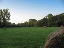 Haystack in a field during summer. In France royalty free stock images