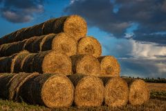 Haystack in a field royalty free stock photography