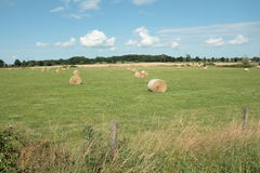 Haystack in french countryside. In summer royalty free stock image