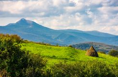 Haystack on a grassy slope. Ridge with high peak in the distance. beautiful agriculture scenery in mountains royalty free stock photography