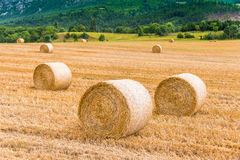 Haystack on the harvested field. In the mountain side royalty free stock image
