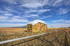 Haystack and irrigation pipe. Stock Image