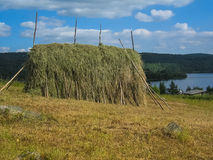 Haystack in Karelia. Typical haystack found in Spasskaya Guba, small village in Karelia, Russia Royalty Free Stock Photography
