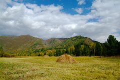 Haystack in mountains against the blue sky and fluffy clouds Stock Image