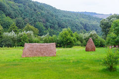 haystack near orchard on hillside. agricultural field in mountain area. beautiful stock image