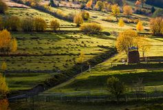 Haystack near the path on hillside in autumn. Haystack behind the fence near the path on hillside in autumn. beautiful countryside scenery with yellow trees Stock Images