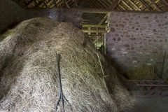 Haystack and pitchfork in old barn Royalty Free Stock Photos