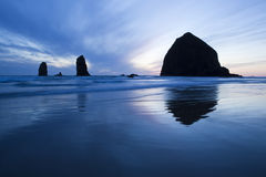 Haystack Rock. At sunset, Cannon Beach, Oregon Stock Photography