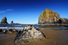 Haystack rock  in cannon beach Stock Photos