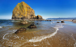 Haystack rock  in cannon beach Royalty Free Stock Photo