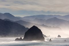 Haystack Rock on the Oregon Coast in Cannon Beach Royalty Free Stock Photography