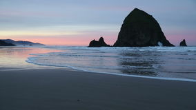 Haystack Rock, Cannon Beach Dawn stock footage