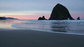 Haystack Rock, Cannon Beach Dawn stock footage