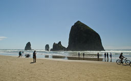 Haystack rock in Cannon Beach in Oregon Royalty Free Stock Photography