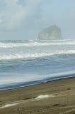 Haystack rock formation Pacific coast Royalty Free Stock Photos