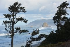 Haystack Rock framed by trees on the Oregon Coast. This is Haystack Rock, a remnant of the former shoreline, framed by pine trees on the Oregon Coast Stock Photo