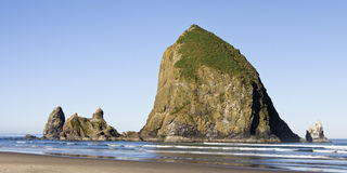Haystack Rock Panorama Royalty Free Stock Images