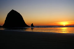 Haystack Rock at Sunset royalty free stock photo