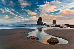 Haystack Rock. At sunset Cannon Beach Oregon Royalty Free Stock Photos