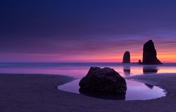 Haystack Rock. At sunset Cannon Beach Oregon royalty free stock photography