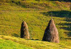 Haystack on the rural field on hillside. In autumn Stock Image