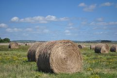Haystack. And scenic views of nature royalty free stock photos