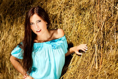 Haystack with sexy model. Royalty Free Stock Images