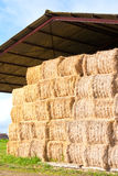 Haystack stored. On a French farm Royalty Free Stock Image