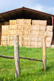 Haystack stored and fence Stock Photo