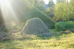 Haystack. Summer landscape, the hay in the village Royalty Free Stock Photos