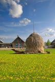 Haystack in the village Royalty Free Stock Photo