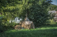 A Haystack in a Village royalty free stock image