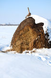 Haystack in winter Royalty Free Stock Images