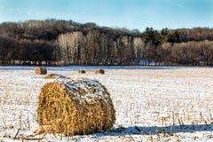 Haystacks на замороженном поле стоковые фотографии rf