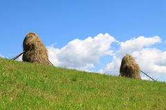 Haystacks. Two yellow haystacks and sky Royalty Free Stock Photography