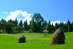 Haystacks in  Apuseni Mountains, Transylvania Stock Images