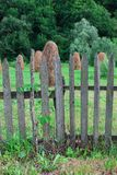 Haystacks behind a wooden fence Stock Photo