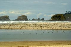 Haystacks at Cannon Beach, Oregon Royalty Free Stock Photos