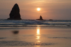 Haystacks at Cannon Beach. Oregon at sunset Royalty Free Stock Images