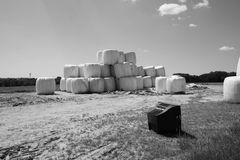 Haystacks in the countryside + tv Stock Image