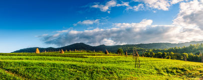 Haystacks in a field near the forest in mountain. Panorama with haystacks in a rural field near the forest at the foot of the mountain at sunrise Royalty Free Stock Photos