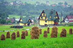 Haystacks on the field in Zakopane Royalty Free Stock Photo