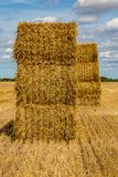 Haystacks at Harvest Time. Haystacks in a field in Kent, on a sunny summer`s day stock photos