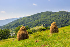 Haystacks on hillside near the village Royalty Free Stock Image