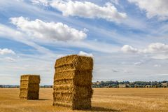 Haystacks. In a Kent field following harvesting royalty free stock image