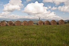 Haystacks on meadow near Malatina village in Slovakia. With panorama of Oravska Magura mountain range royalty free stock photography