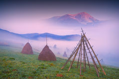 Haystacks in a misty valley_1 Stock Image