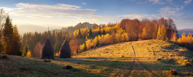 Haystacks in mountain village. Autumn landscape with haystacks. Evening in a mountain village. Carpathian mountains, Ukraine, Europe Royalty Free Stock Photo