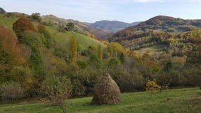 Haystacks, piled hay. Autumn day. Autumn day in the mountains. Nature Royalty Free Stock Photo