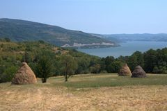 Haystacks poly żelazo zakazuje Danube rzekę Obraz Stock